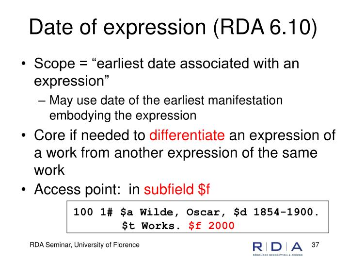 Date of expression (RDA 6.10)
