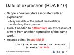 date of expression rda 6 10