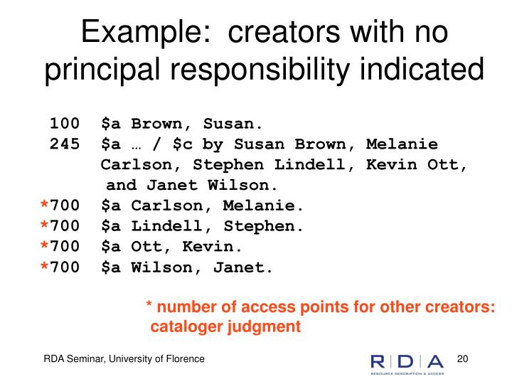 Example:  creators with no principal responsibility indicated