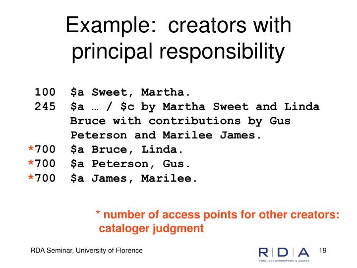 Example:  creators with principal responsibility