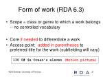 form of work rda 6 3