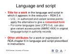 language and script