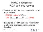 marc changes for rda authority records