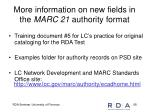 more information on new fields in the marc 21 authority format
