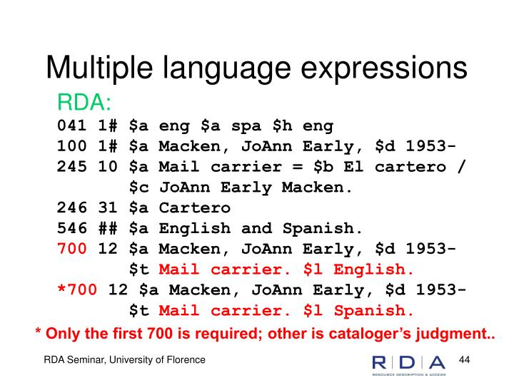 Multiple language expressions