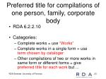 preferred title for compilations of one person family corporate body
