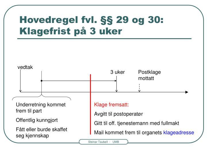 Hovedregel fvl. §§ 29 og 30: