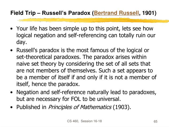 Field Trip – Russell's Paradox (