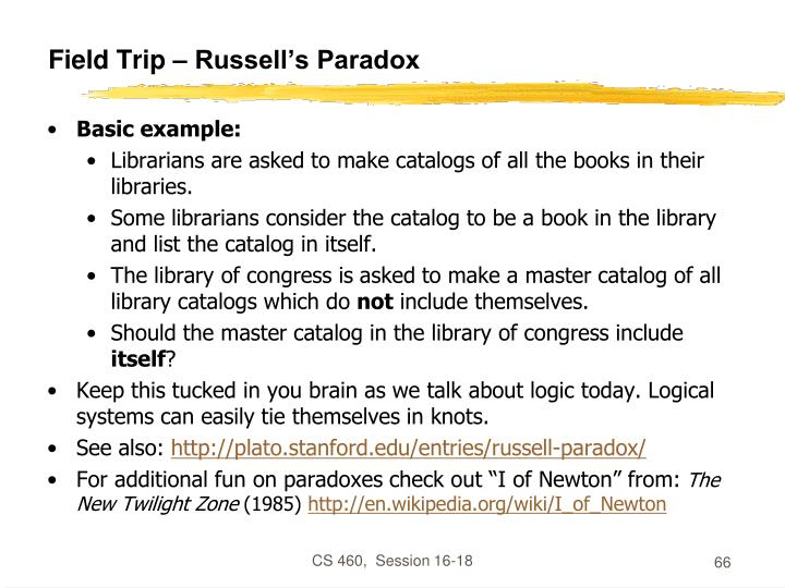 Field Trip – Russell's Paradox