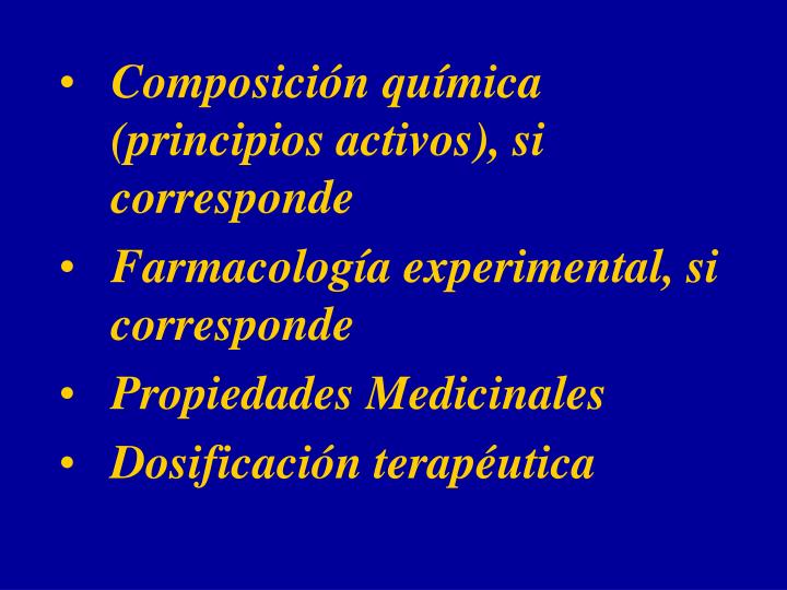 Composición química (principios activos), si corresponde