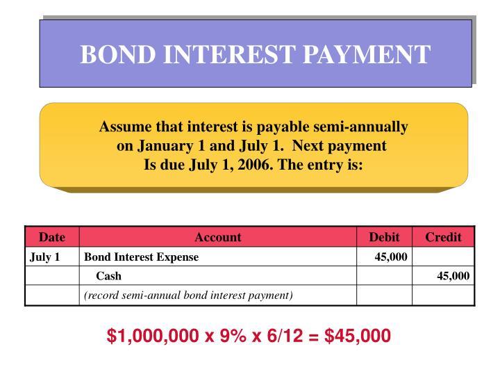 BOND INTEREST PAYMENT
