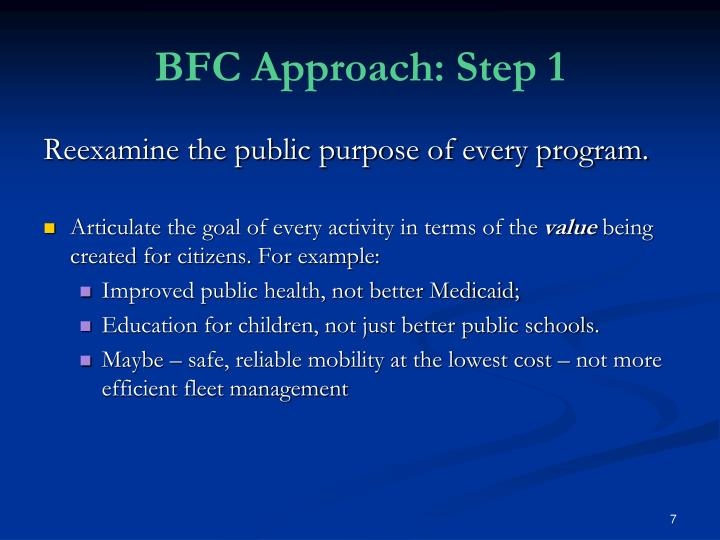 BFC Approach: Step 1