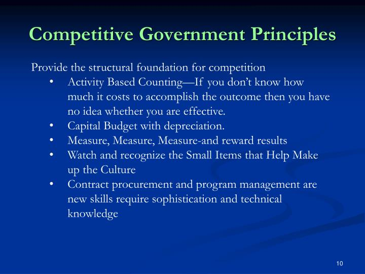 Competitive Government Principles