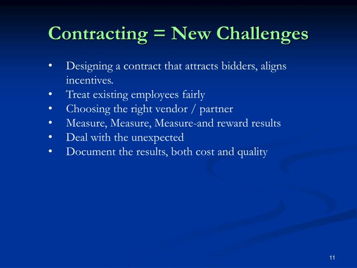Contracting = New Challenges