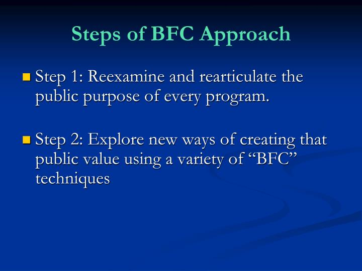 Steps of BFC Approach
