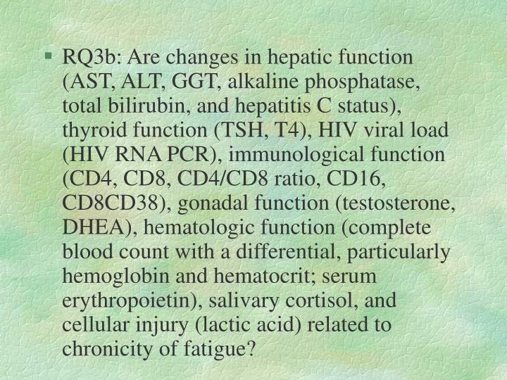 RQ3b: Are changes in hepatic function (AST, ALT, GGT, alkaline phosphatase, total bilirubin, and hepatitis C status), thyroid function (TSH, T4), HIV viral load (HIV RNA PCR), immunological function (CD4, CD8, CD4/CD8 ratio, CD16, CD8CD38), gonadal function (testosterone, DHEA), hematologic function (complete blood count with a differential, particularly hemoglobin and hematocrit; serum erythropoietin), salivary cortisol, and cellular injury (lactic acid) related to chronicity of fatigue?