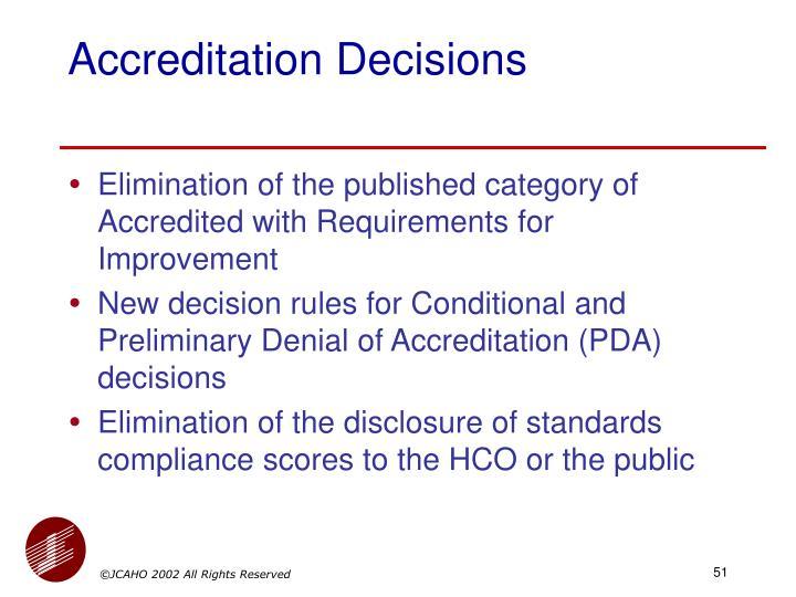 Accreditation Decisions