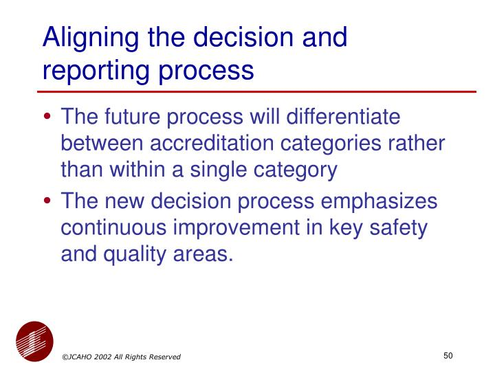 Aligning the decision and reporting process