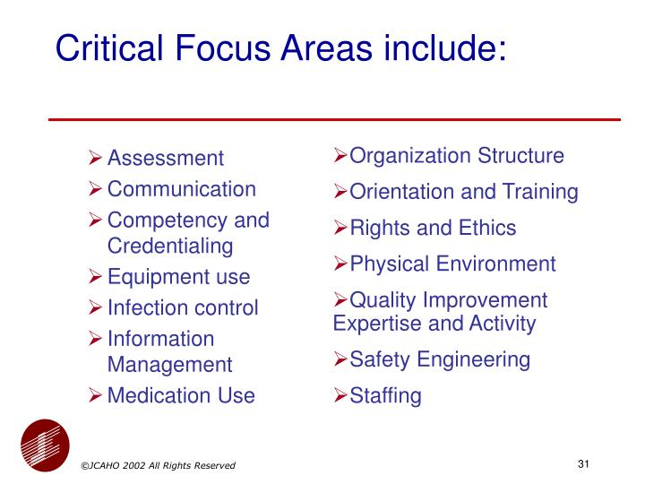 Critical Focus Areas include: