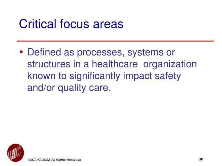 Critical focus areas