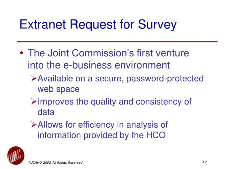 Extranet Request for Survey