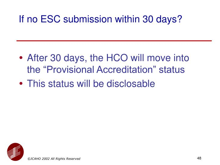 If no ESC submission within 30 days?