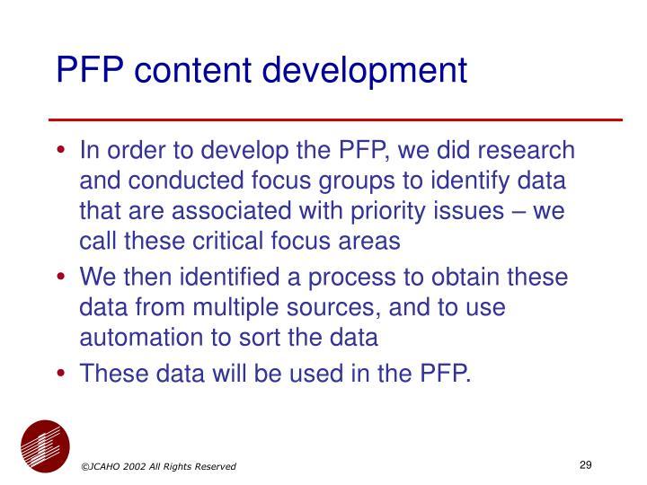PFP content development