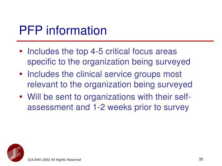 PFP information