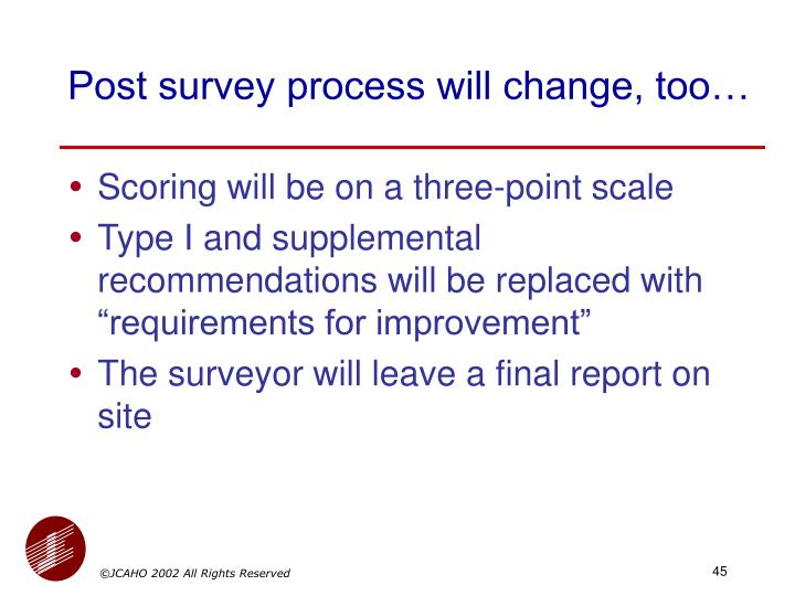 Post survey process will change, too…
