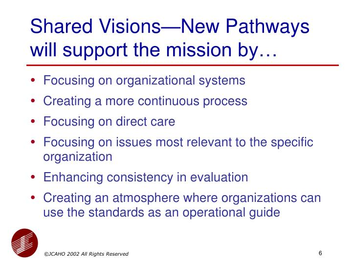 Shared Visions—New Pathways will support the mission by…