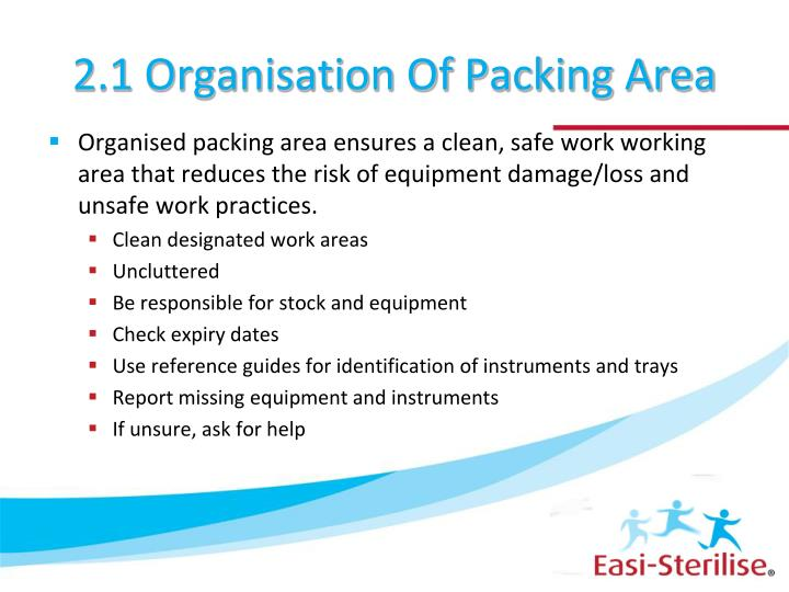 2 1 organisation of packing area