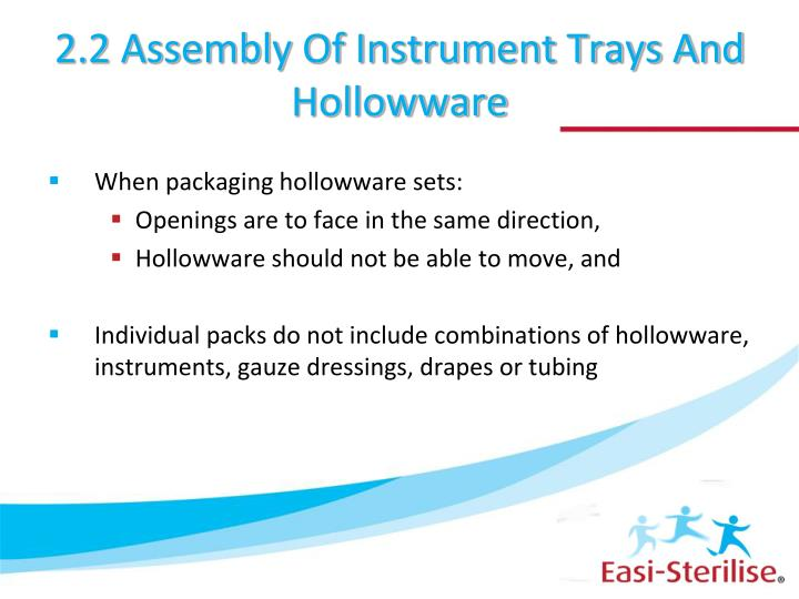 2.2 Assembly Of Instrument Trays And Hollowware