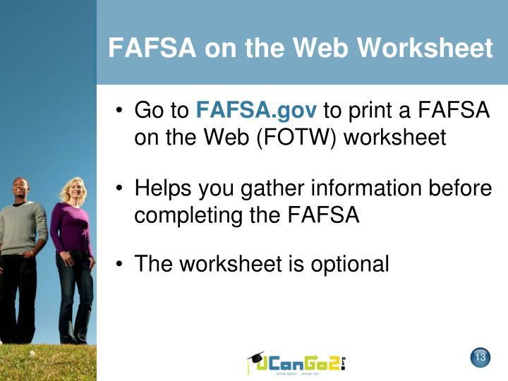 FAFSA on the Web Worksheet