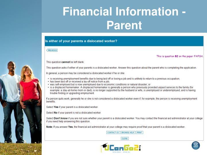 Financial Information - Parent