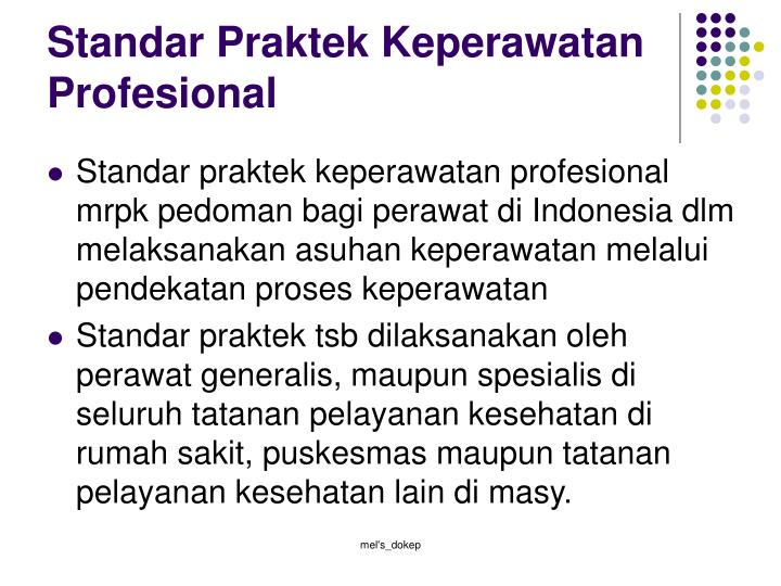 Standar Praktek Keperawatan Profesional