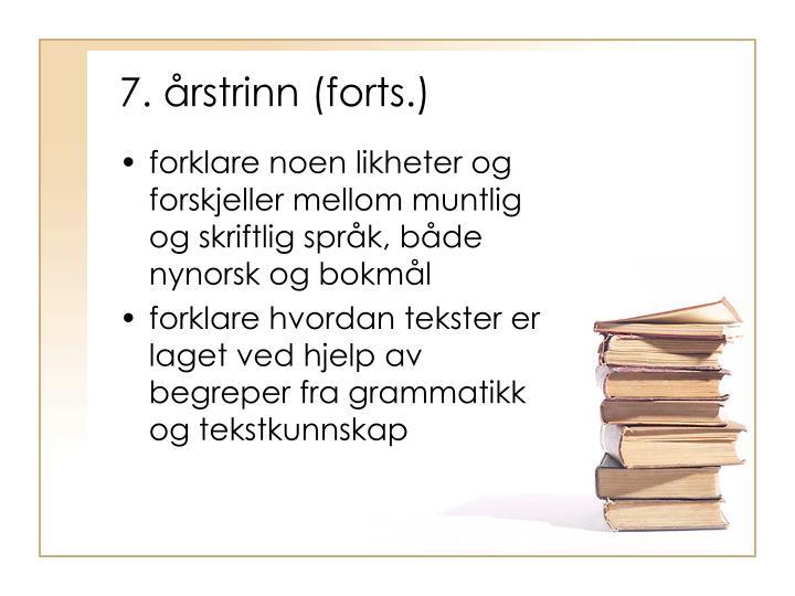 7. årstrinn (forts.)