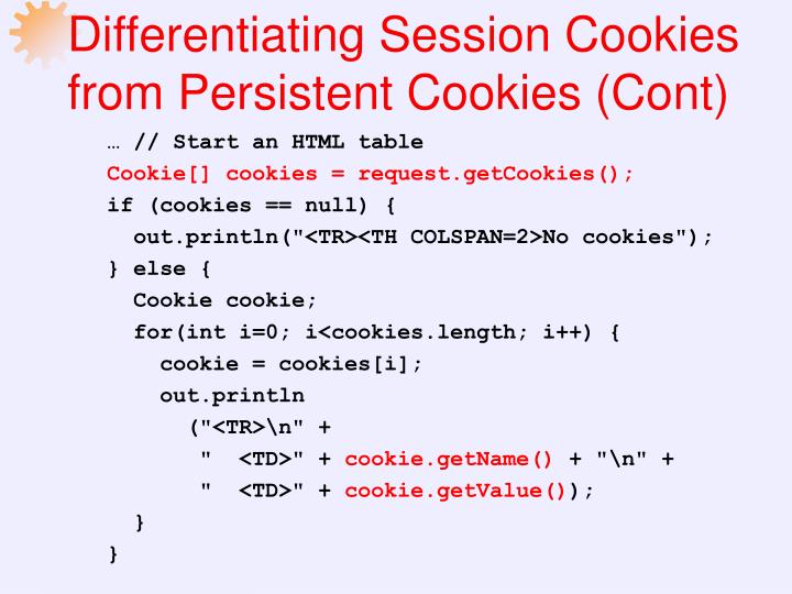 Differentiating Session Cookies from Persistent Cookies (Cont)