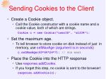sending cookies to the client