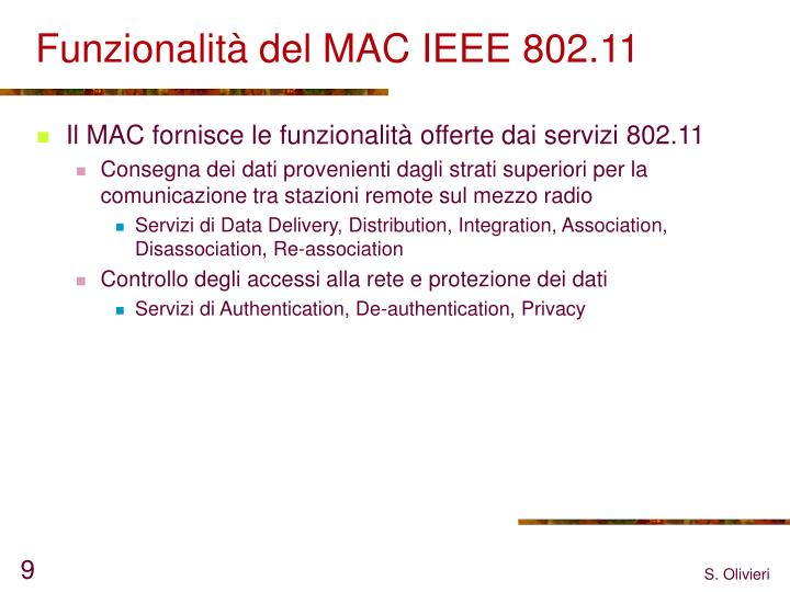 Funzionalità del MAC IEEE 802.11