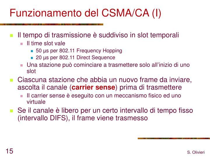 Funzionamento del CSMA/CA (I)