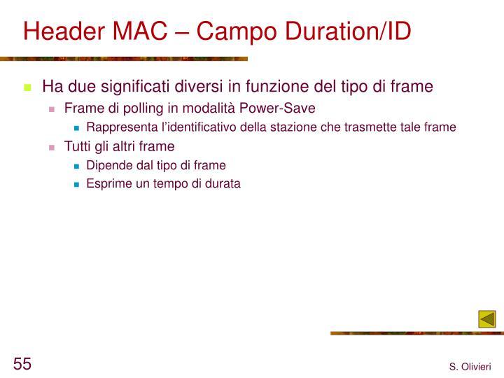 Header MAC – Campo Duration/ID