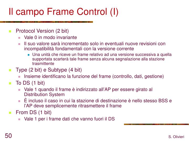 Il campo Frame Control (I)