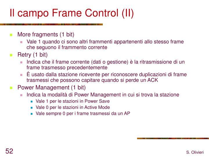 Il campo Frame Control (II)