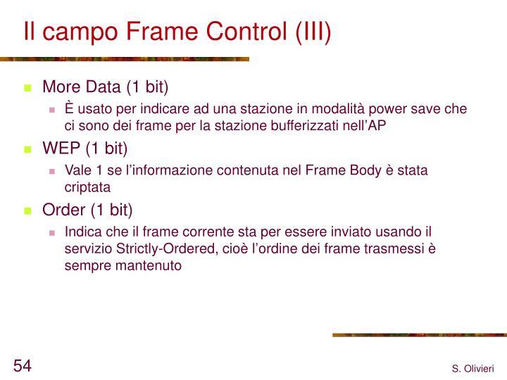 Il campo Frame Control (III)