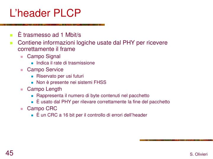 L'header PLCP