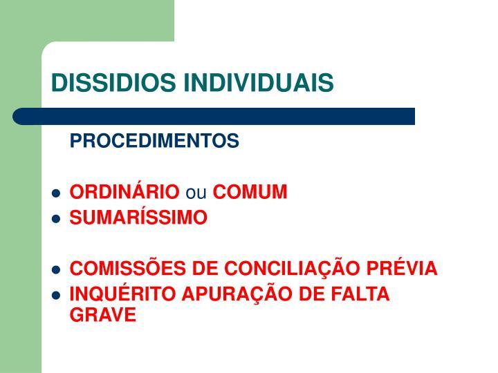 DISSIDIOS INDIVIDUAIS
