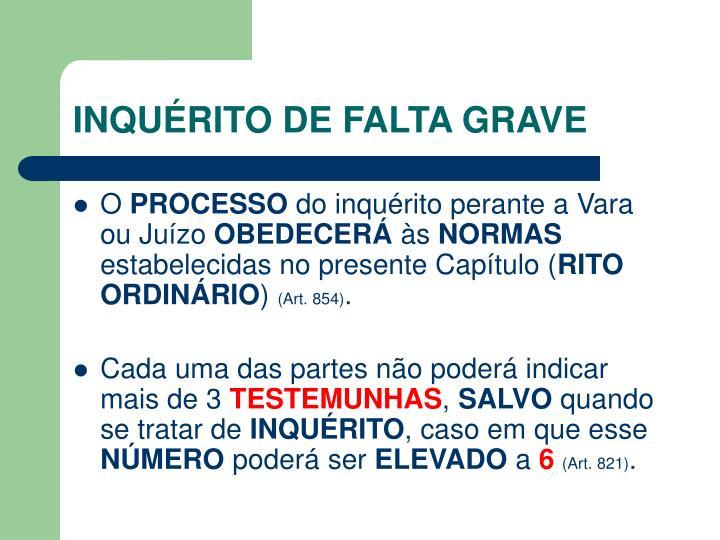 INQUÉRITO DE FALTA GRAVE