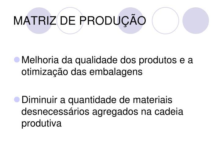 MATRIZ DE PRODUÇÃO
