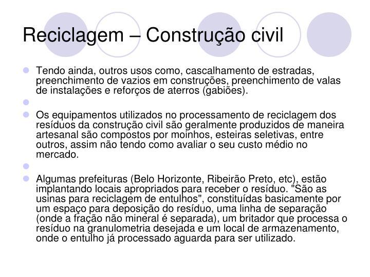 Reciclagem – Construção civil