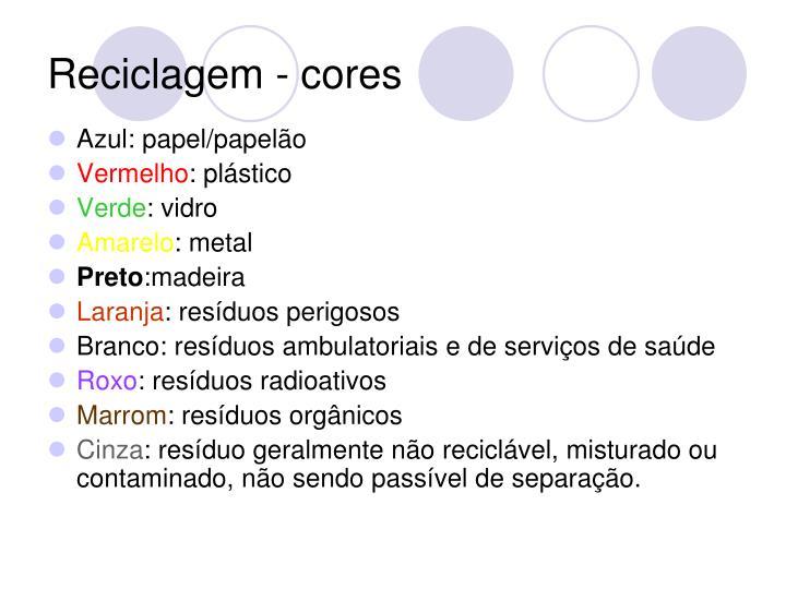 Reciclagem - cores